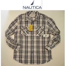 Camisa Nautica L Grande Cuadros Blanca Negra Cuadros Hombre!