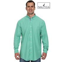 Camisa 3xl Nautica Verde Azul Rayas 3x Manga Larga Xxxl Ve!!