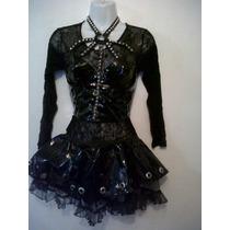 Corset Gotico Dark Halloween Disfraz Charol Ebm