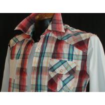 Camisa Cuadros C/playera Integrada Panino M/c Alg 100 E-shop