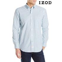 Camisa 2xl Izod Azul Cuadros 2x Manga Larga Xxl 100% Algodon