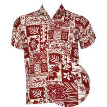 La Leela Likre Blanco Rojo Tropical Beach Camisa Hawaiana