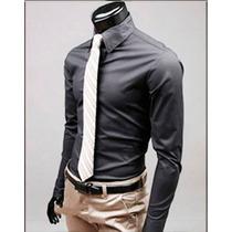 Camisas Vestir Hombre Slim Fit, Camisas Formales Manga Larga