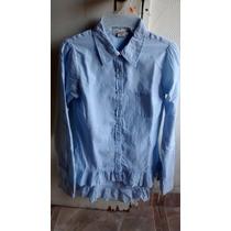 Preciosa Camisa Con Biel Floral Y Escarola Baja. Americana