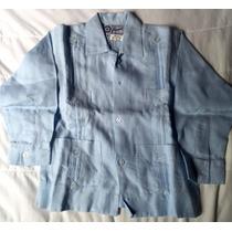 Camisa De Lino 100% Azul Claro Para Niño Talla 4 Guayabera