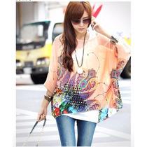 Moderna Blusa Detallada Floreada Moda Japonesa Promocion