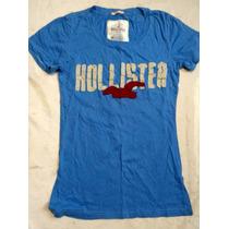 Playera Hollister Azul Mediana