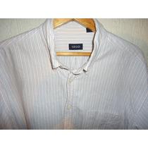 Camisa Izod De Lacoste Rosa Con Azul Como Nueva Talla L