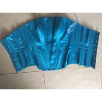 Corset Diseñador Azul Brillante Satín S-m Ajustable Varilla
