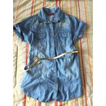 Camisa Blusón Mezclilla Perlas Estoperoles Tip Cuello Bebe M