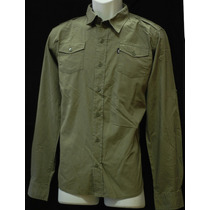Antifashion - Camisa De Botones Manga Larga Verde Militar