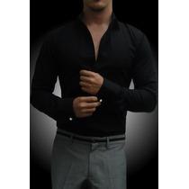 Camisa Negra John Leopard Para Mancuernillas Traje Formal