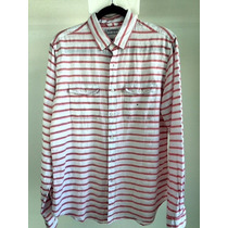 Camisa Caballero Marca Express, A Rayas Rojo Y Blanco
