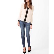 Blusa Crema C/ Zipper Enfrente