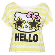 Playera Blusa Para Mujer Hello Kitty Rayas Chica 7/9