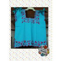 Blusa Azul Bordada Niña Tipica Hipil 100% Yucateca Algodon