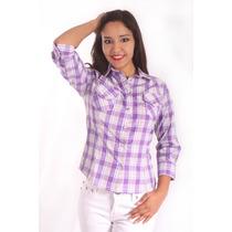 Camisa Vaquera Polyester Morado / Blanco El General