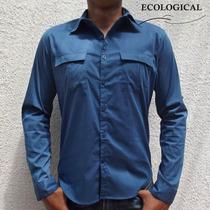 Camisa Gabardina Azul Con Bolsas