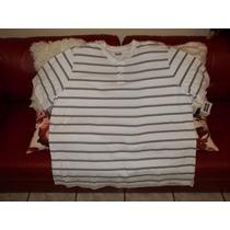 Camiseta Polo Talla 2xl Big, Blanca A Rayas, En Piqué