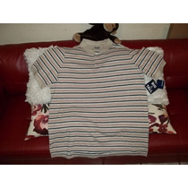 Camiseta Polo Talla 2xl Big, Cafe A Rayas, Talla Extra