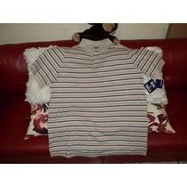 Camiseta Polo Talla 2xl Big, Cafe A Rayas, En Piqué