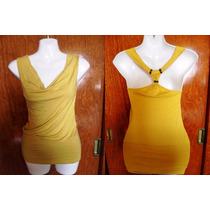 Bluson O Mini Vestido Amarillo Espalda Cruzada Stretch S Ch