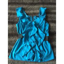 Blusa Azul Aqua Bebe Escarolas Cierre S Escote V Licra