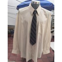 Camisa Andrew Fezza Traje Beige Tallas Extra 2xlt Cuello 18