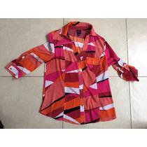 Camisa Blusa Multicolor Rosa 2be Bebe M Mangas Ajustables