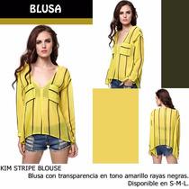 *fashionstore* Kim Yellow Blouse. Blusa Amarilla Rayas.