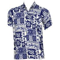 La Leela Navy Blue Print Beach Camisa Hawaiana Hombres