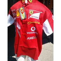 Camisa Logos Bordados Carreras Racing Tipo Ferrari