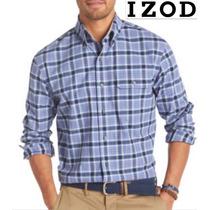 Camisa 2xl Izod Azul Cuadros Manga Larga Xxl Padrisima 2x Ve