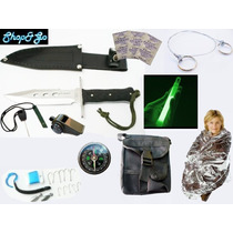 Mega Kit Supervivencia Cuchillo Pedernal Manta Brujula 30 Pz