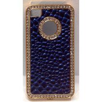 Funda Iphone 4s / 4 Marco Dorado Patron Azul Burbujas