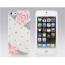 Funda Iphone 5s / 5 Pedrería Blanca Flores Rosas