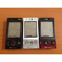 Carcaza Completa Sony Ericsson W705 Roja, Plata Y Negra