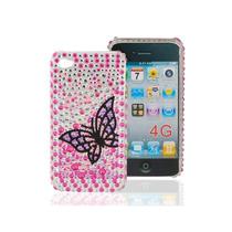 Funda Iphone 4s / 4 Pedrería Pedrería 3d Mariposa Negra