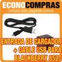 Cable Usb Y Entrada De Cargador Usb Para Blackberry 8520