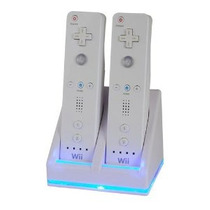 Wii Estación De Carga Dual W / 2 Baterías Recargables Y Luce