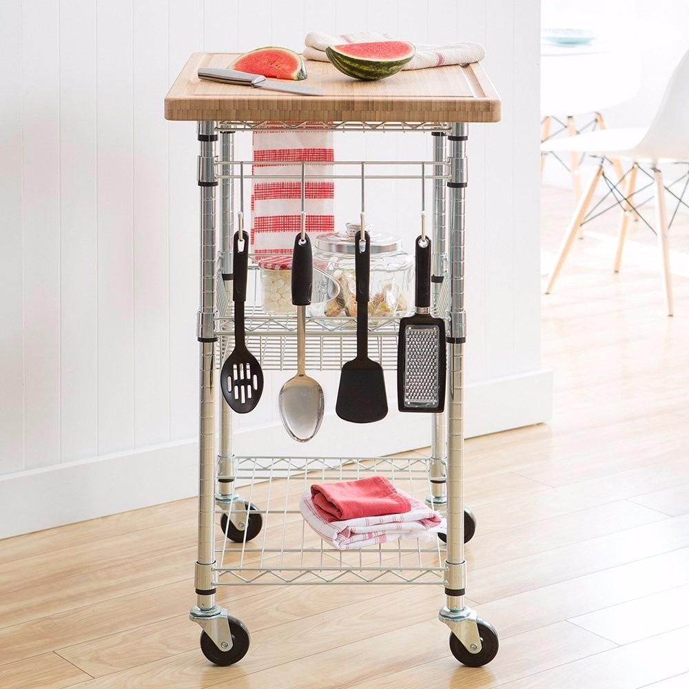 Carrito auxiliar para cocina tablero cesta ruedas for Carritos con ruedas para cocina