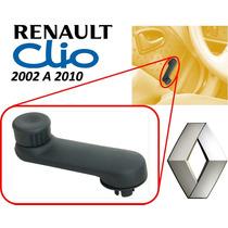 02-10 Renault Clio Manivela Vidrios Manuales Color Negro