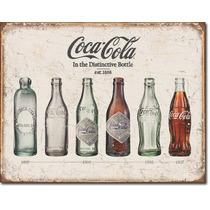 Poster Metalico Litografia Anuncio Coca Cola Botellas Evoluc