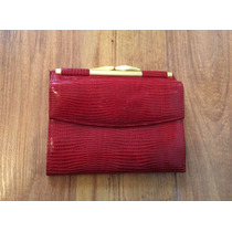 Bolsa Cartera Garys Leather Roja Piel Fina Suave Original!!