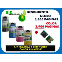 Kit Recarga Y Chip Toner Canon 118 Mf8350 Vbf