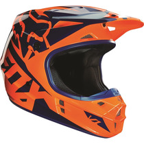 Casco Fox V1 Race Naranja Azul 2016 Motocross Atv Talla S