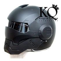 Casco Negro Mate Iron Man Motociclista *nuevo