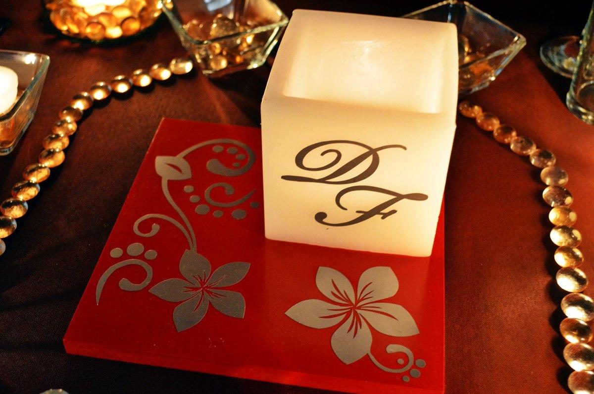 Centro de mesa para boda en tonos rojo y plateado aluzza - Centros de mesas para bodas ...