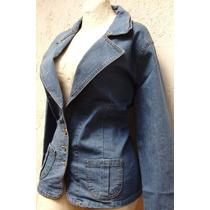 Saco Blazer Jacket Mezclilla Stretch Moda Y Tallas Extras