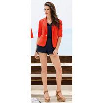 Saco Blazer Color Naranja Moda Urbana 95401
